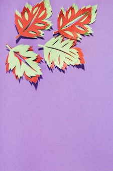 Paper leaves on purple background