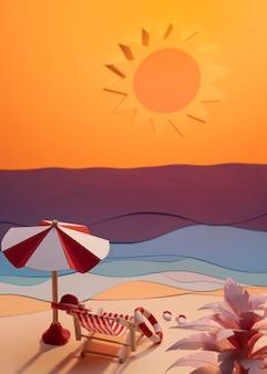 纸制成夏季海滩分类