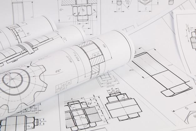 Бумажная механика инженерные чертежи крупным планом