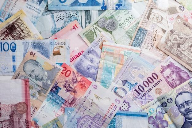 다른 나라의 지폐 배경입니다.