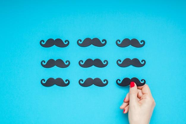 Paper moustaches for men fathers dad concept