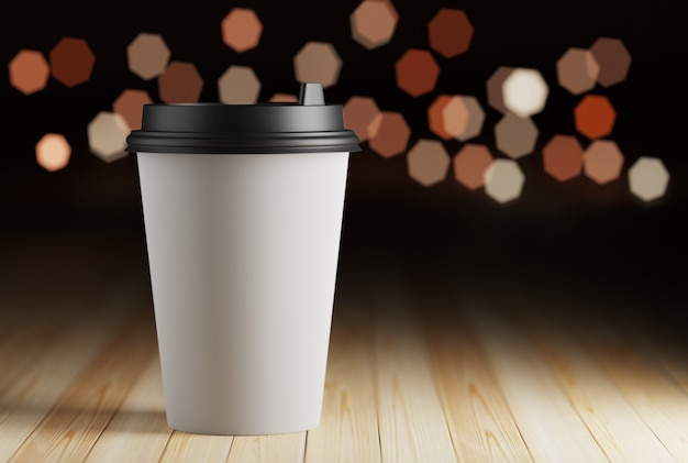 Макет бумажной кружки с кофе на деревянном столе и огнями боке. 3d рендеринг Premium Фотографии