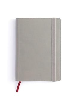 흰색 배경, 상위 뷰에서 종이 노트북