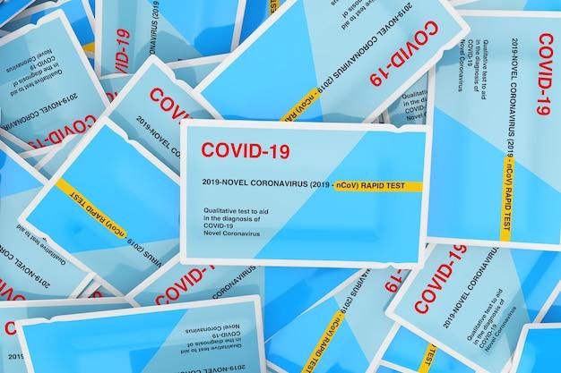 바이러스성 질병 신종 코로나바이러스 covid-19 2019 n-cov 배경 극단적인 근접 촬영을 위한 신속한 테스트 장치의 종이 패키지 힙. 3d 렌더링