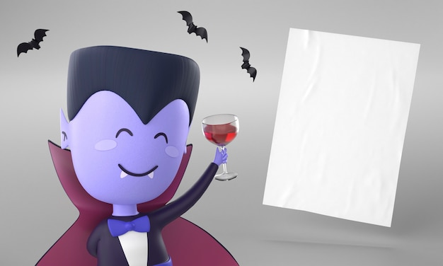 Paper page with dracula decoration for halloween