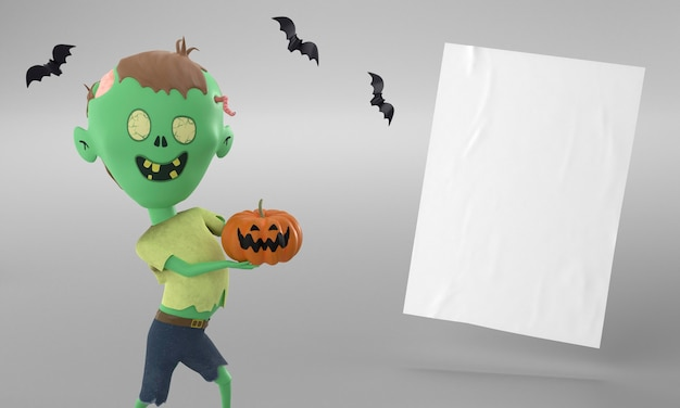 Paper page with hulk decoration and pumpkin for halloween