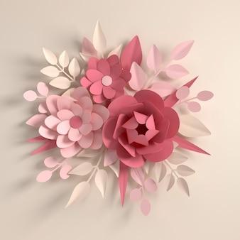 紙のパステルカラーの花