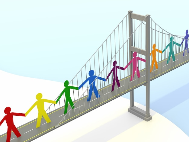 Бумажные люди, тротуары подвесного моста. 3d-рендеринг
