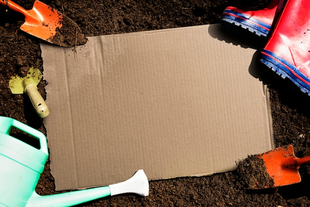 Paper placard is on a soil