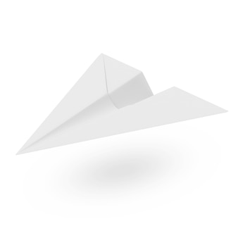 흰색 배경에 고립 된 종이 비행기 프리미엄 사진