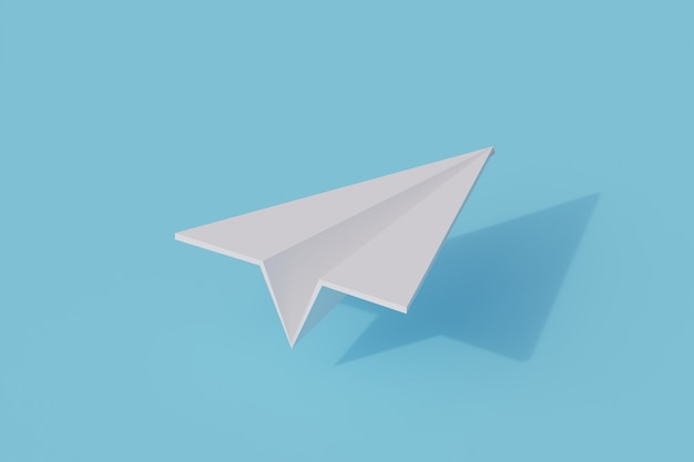 Paper plane toys single isolated object. 3d rendering