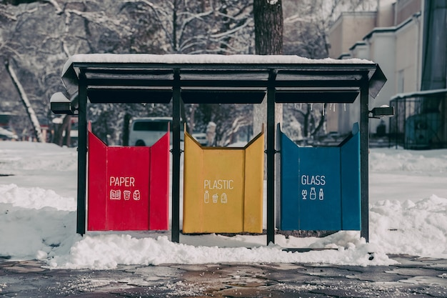Paper, plastic and glass garbage bins