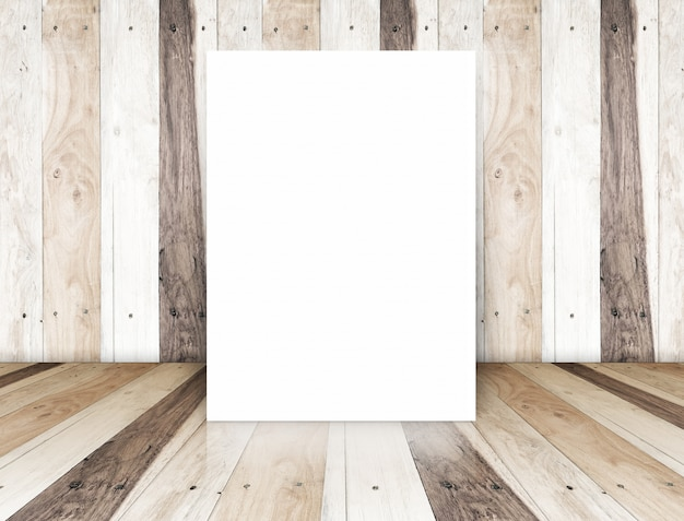 Paper poster on  tropical wood room,template for your content