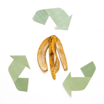 Paper recycle sign with organic trash