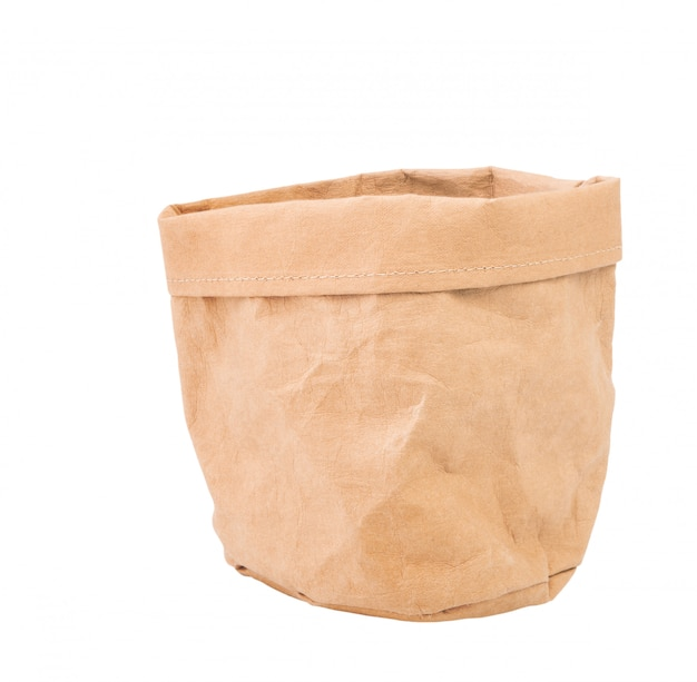 Paper recycled flower pot or bag isolated on white with clipping path