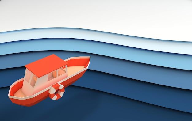 바다 또는 바다에서 항해하는 종이 빨간 보트 렌더링