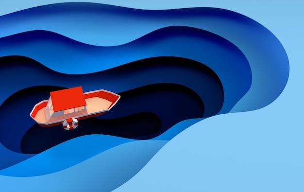 Бумажная красная лодка, плывущая в океане или море.