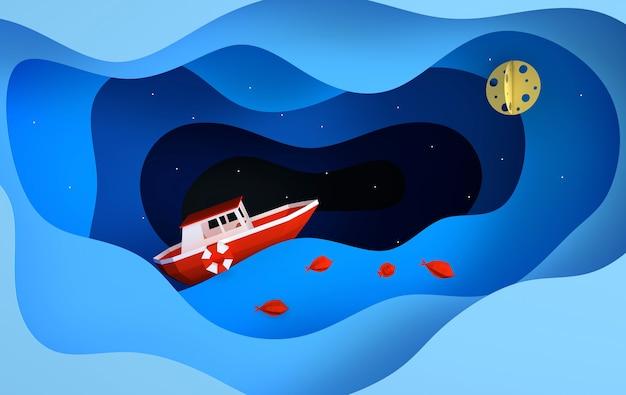 Бумажная красная лодка, плывущая в океане или морские звезды, концепция ночного путешествия луны и рыбы