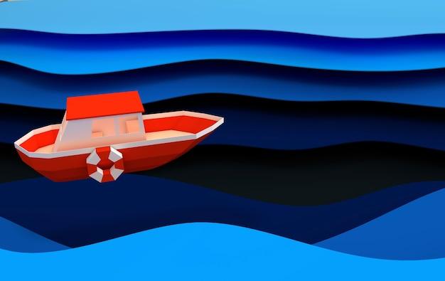 Бумажная красная лодка, плывущая в океане или концепция морского путешествия слои голубых морских волн