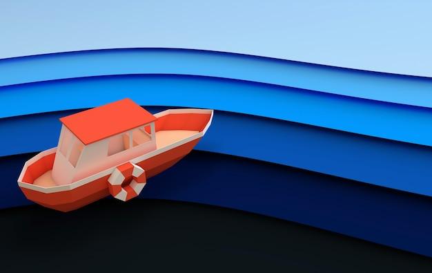 Бумажная красная лодка, плывущая в океане или море, концепция путешествия