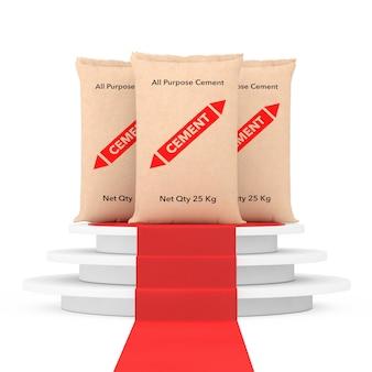 白い背景の上の赤いカーペットと勝者の表彰台の上に紙袋セメントバッグ。 3dレンダリング