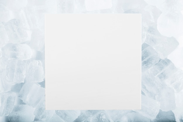 Paper sheet on ice cubes