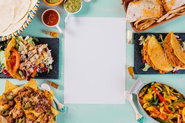 Бумажный лист возле тарелок с мексиканскими блюдами
