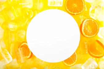 Paper sheet on ice and citruses