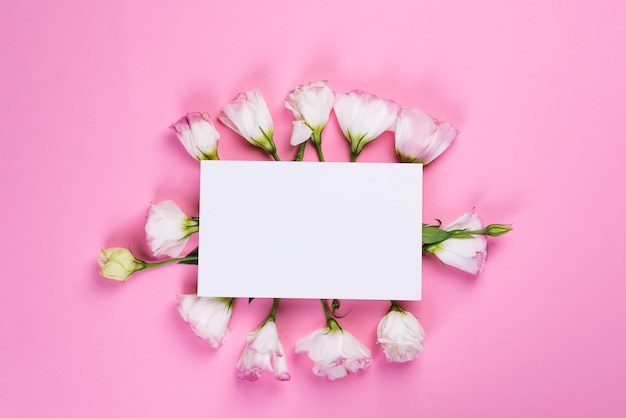 Paper sheet with eustoma flowers