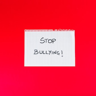 Paper sheet with stop bullying words