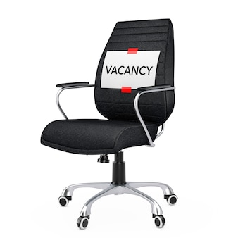 Paper sheet with vacancy message over black leather boss office chair on a white backgroundl. 3d rendering.