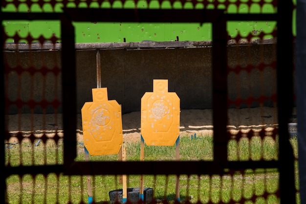 Paper shooting target with bullet holes