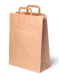 白い背景で隔離の紙の買い物袋