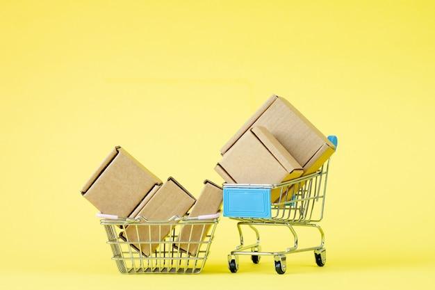 Paper shopping bags in a shopping cart