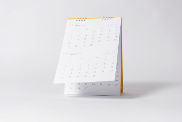Paper spiral calendar year 2019 on gray background.