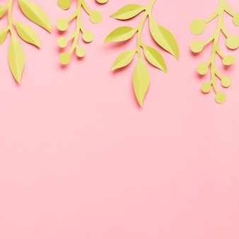 Paper spring leaves with copy space