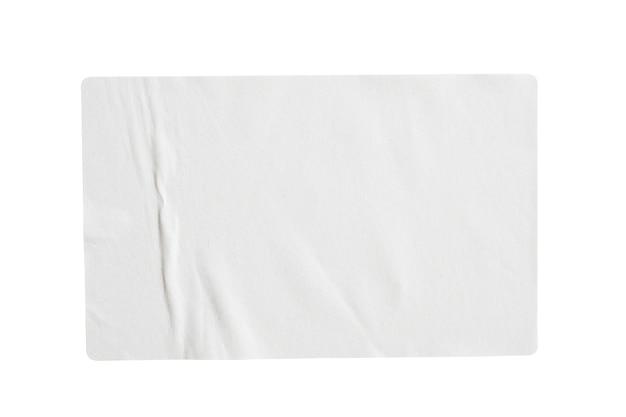 흰색 배경에 고립 된 종이 스티커 라벨