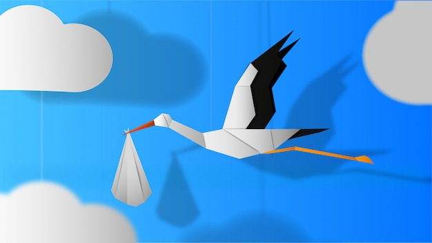 Paper stork with baby