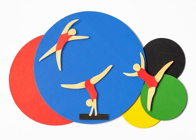 Соревнования по гимнастике в бумажном стиле