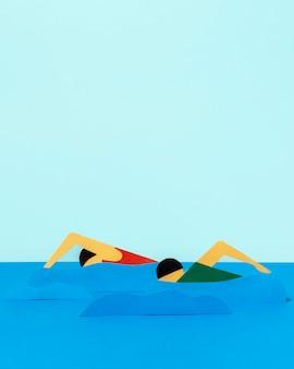 Соревнования по плаванию в бумажном стиле