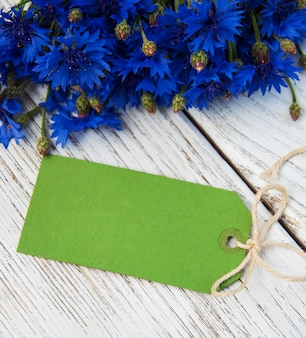 Paper tag with  cornflowers