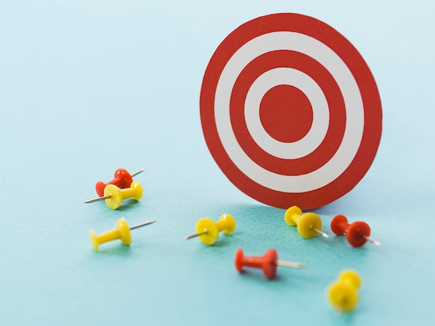 Paper target with colorful paper pins