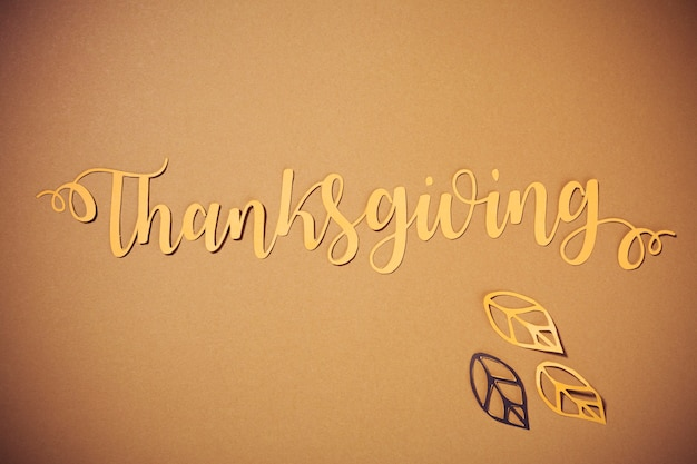 Paper thanksgiving lettering with leaflets