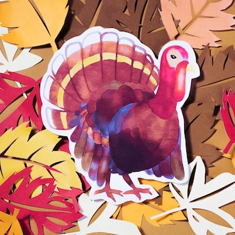 Paper turkey with leaflets