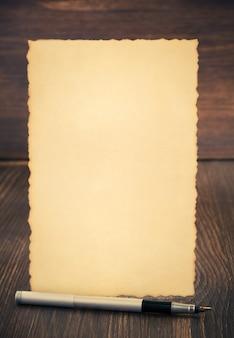 Paper vintage parchment on wooden