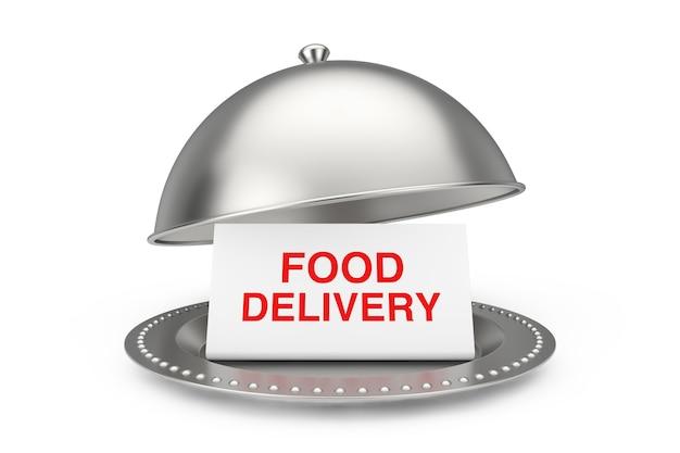 Бумага с подписью доставки еды в ресторане cloche на белой предпосылке. 3d рендеринг
