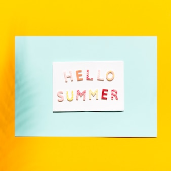 Paper with inscription on hello summer