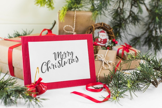 Paper with merry christmas inscription