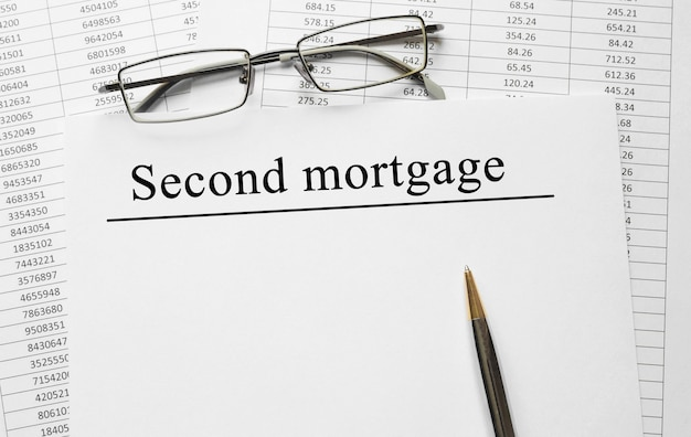 Paper with second mortgage on a table