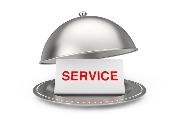 Бумага со знаком обслуживания в ресторане cloche на белой предпосылке. 3d рендеринг